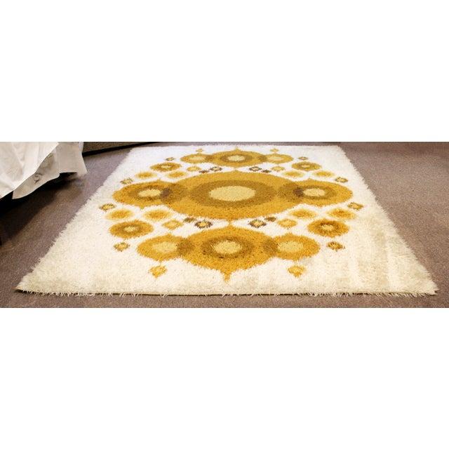 Mid-Century Modern Mid-Century Modern Rya Rectangular Area Rug Carpet Orange Circles 1960s Denmark For Sale - Image 3 of 6