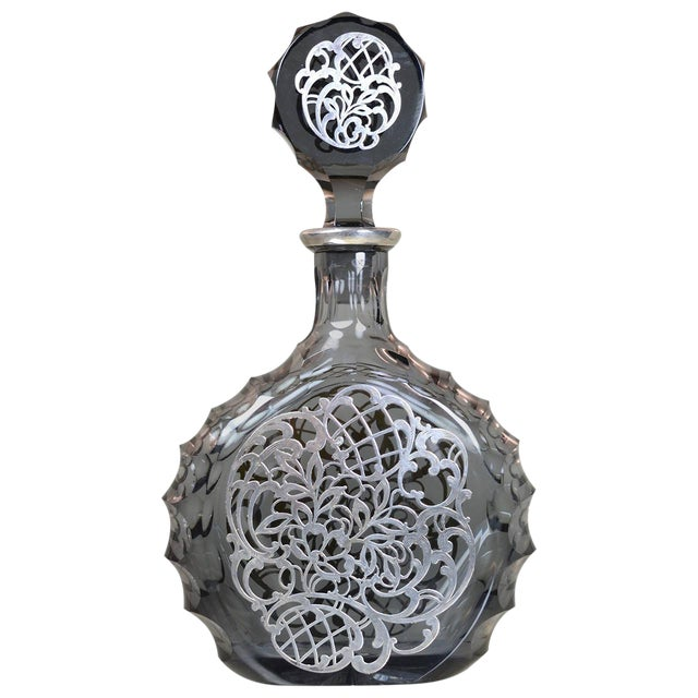 Silver Decorated Crystal Decanter For Sale