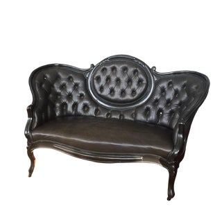Victorian Settee Love Seat in Black Cow Hide and Black Lacguer Painted Frame For Sale