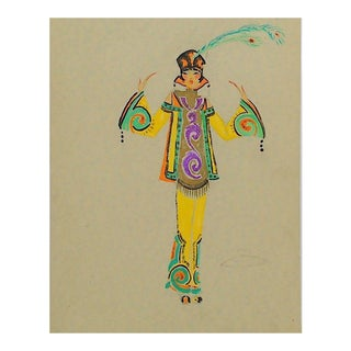 "1920's Original ""Chinese Girl"" Costume Design Painting"