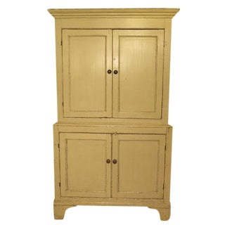 Antique English Painted Four Door Cupboard For Sale