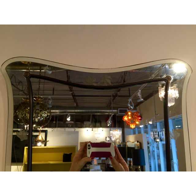 Attributed to Pietra Cheisa for Fontana Arte Mid Century Modern Italian Etched Glass Mirror - Image 3 of 11