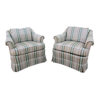 Drexel Heritage Mint Striped Lounge Chairs For Sale