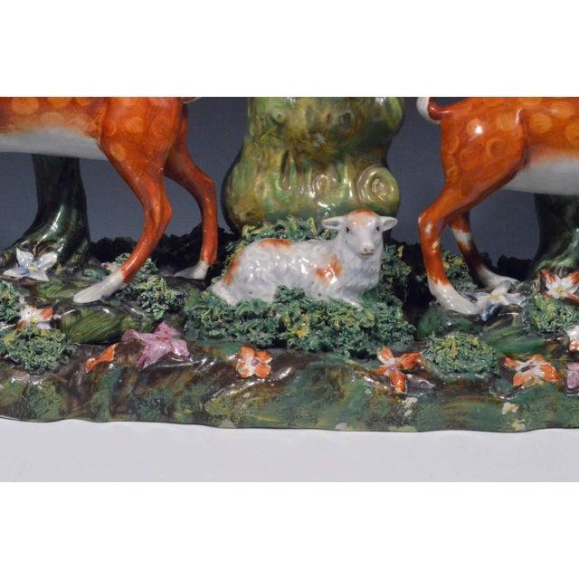 Staffordshire Pearlware Deer & Doe Removable Large Deer Park Spill Vase Group For Sale - Image 5 of 5