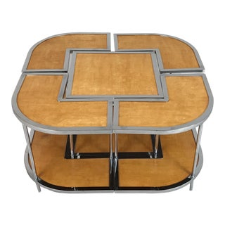 1950s Italian Mid-Century Modern Versatile Parchment and Chrome Nesting Tables - 5 Pieces For Sale