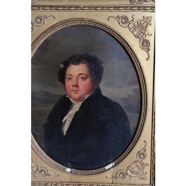Gold Early 19th Century French Oil on Canvas of a Man Dressed in Black For Sale - Image 8 of 13