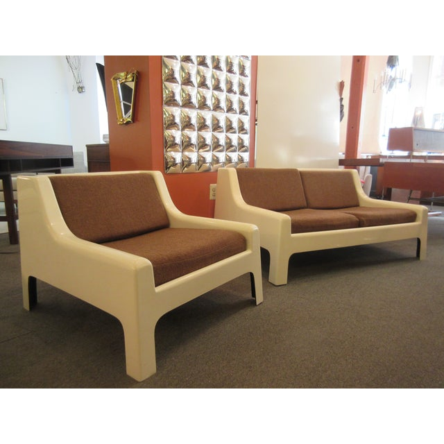 Cappellini Sofa and Chair set in Painted White Fiberglass - Image 8 of 10