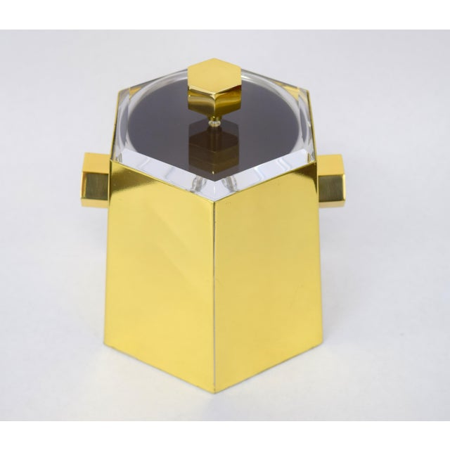 Brass and Lucite Hexagonal Ice Bucket by Charles Hollis Jones For Sale - Image 10 of 10
