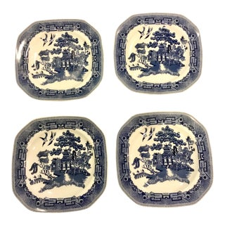 Johnson Brothers Blue Willow Square Dessert Plates - Set of 4 For Sale