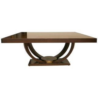 Custom Mahogany Dining Table With Gilt Peripheral Banding After Karl Springer For Sale