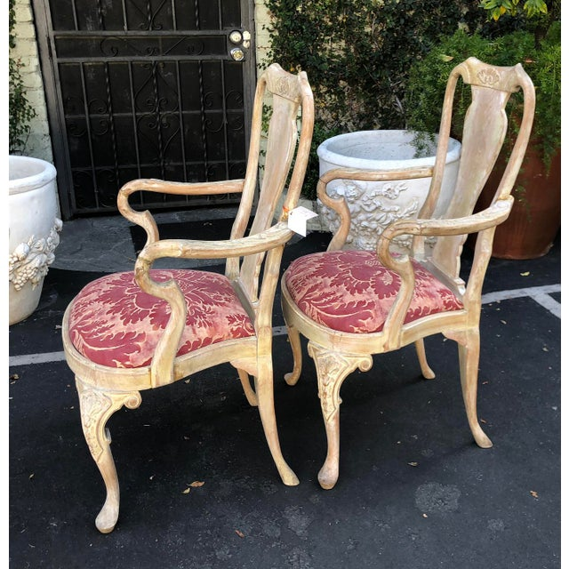 Georgian Pair of Antique George III Fortuny Designer Arm Chairs For Sale - Image 3 of 6