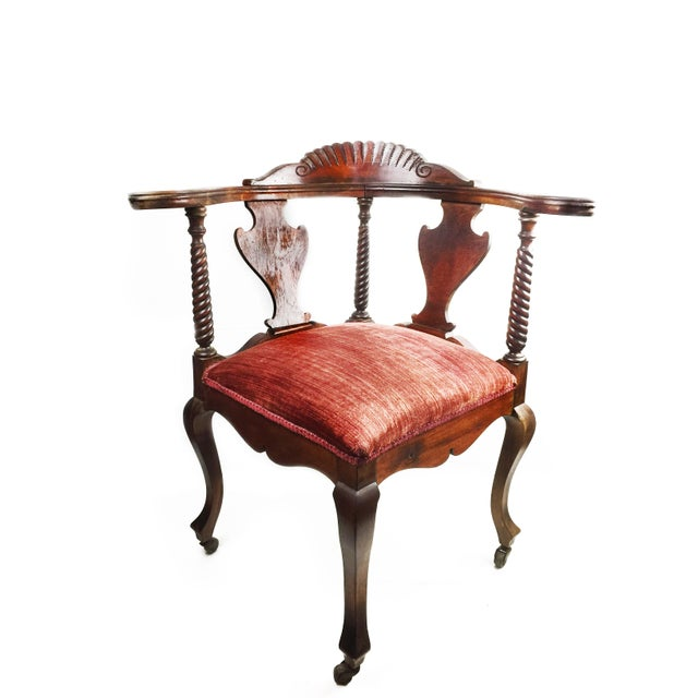 Metal Antique Victorian Hand Carved Corner Chair For Sale - Image 7 of 7