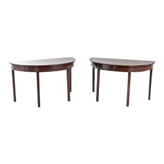 Georgian Mahogany Demi-Lune Tables - A Pair