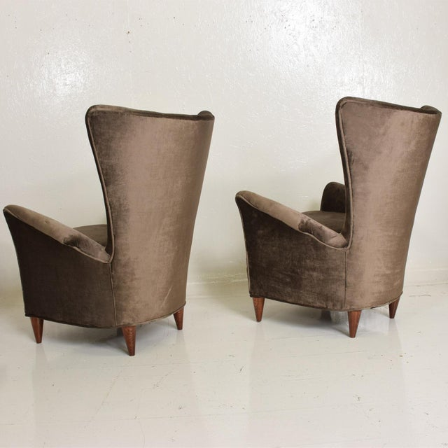 Gray Mid Century Modern Pair of Arm Chairs by Gio Ponti for Bristol Hotel in Merano Italy For Sale - Image 8 of 12