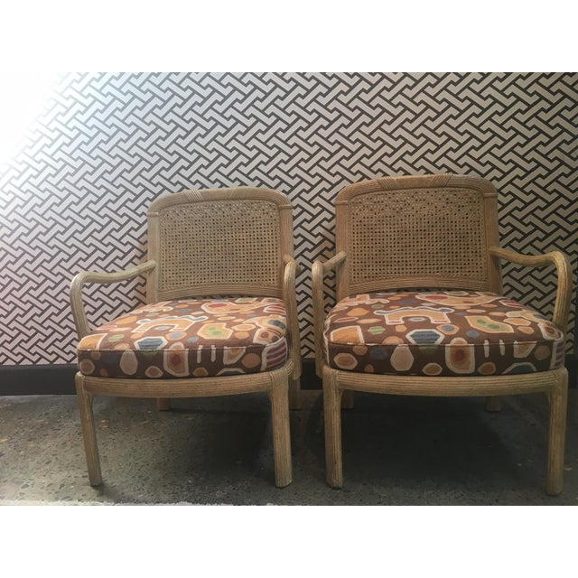 "Henredon Cane Chairs in newly upholstered Clarence House Fabric. AH- 23"" SH-17"""