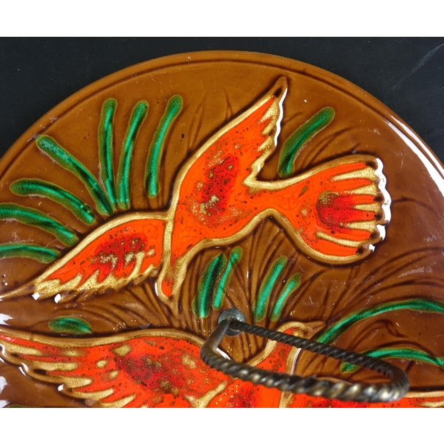 Vallauris 1970s French Glazed Ceramic Serving Dish For Sale - Image 4 of 7