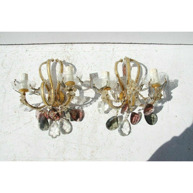 Glass C. 1940's French Regency Maison Bagues Style Beaded Crystal with Lavender Sconces - a Pair For Sale - Image 7 of 7