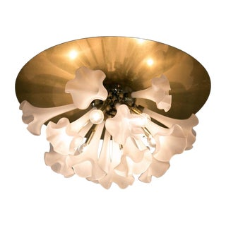 Murano Flush Mount With Hand Blown Frosted Glass Flowers For Sale