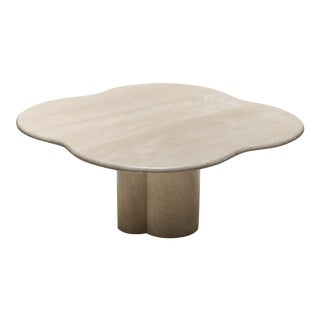 Jean Royère Style Travertine Coffee Table For Sale