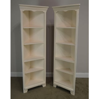 Riverside Furniture Quality Pair Off White Painted Corner Bookcases Preview