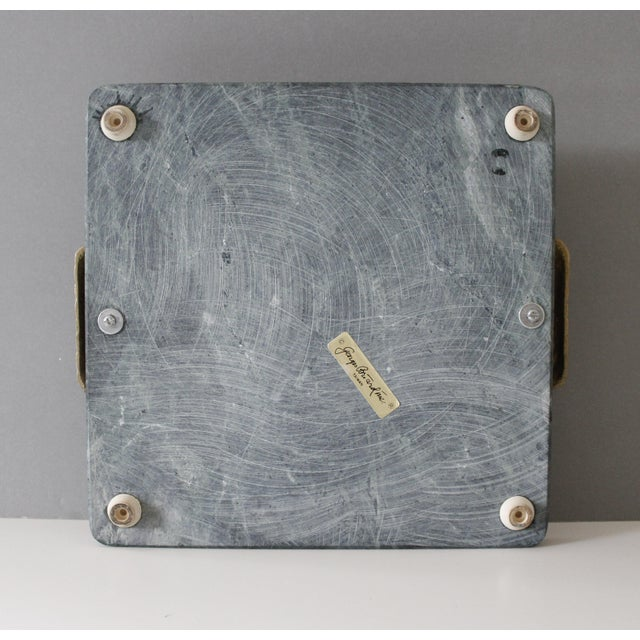 Late 20th Century Georges Briard Green Marble & Brass Cutting Board Serving Tray Mid Century For Sale - Image 5 of 6