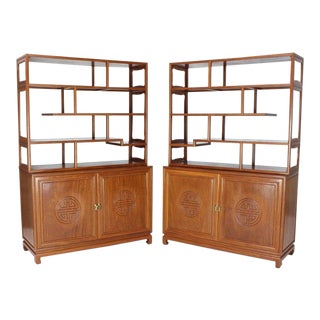 Pair of Asian Solid Teak Étagères Double Carved Doors Cabinets For Sale