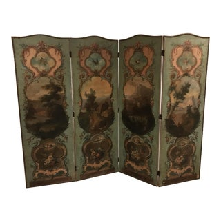 Antique Oil Painted Panel Screen