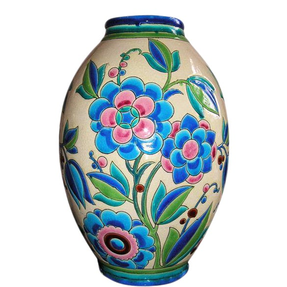 1930s Keramis Boch Blue Green and Pink Ceramic Vase For Sale