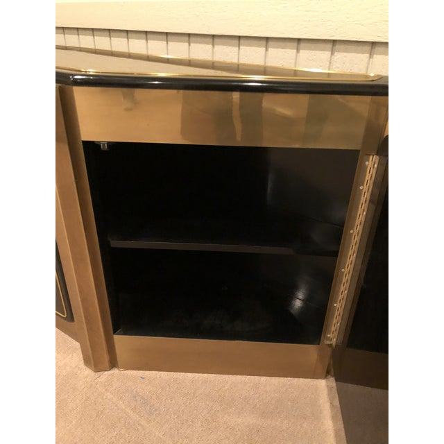1960s Bernhard Rohne for Mastercraft Tree of Life Solid Brass and Black Lacquer Credenza For Sale - Image 5 of 7