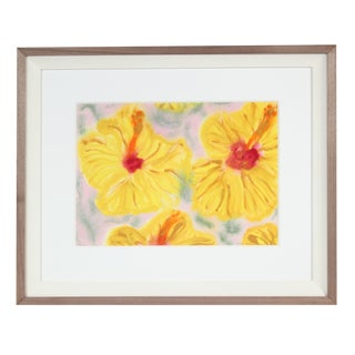 """Yellow Hibiscus"" Hawaii Still Life, Ink, Watercolor and Gouache Painting on Paper For Sale"
