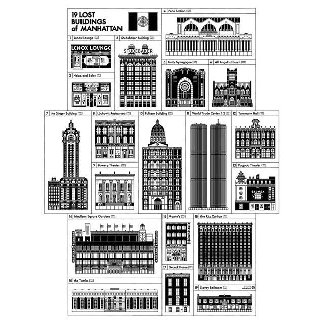 Demolished Buildings of Manhattan Poster For Sale