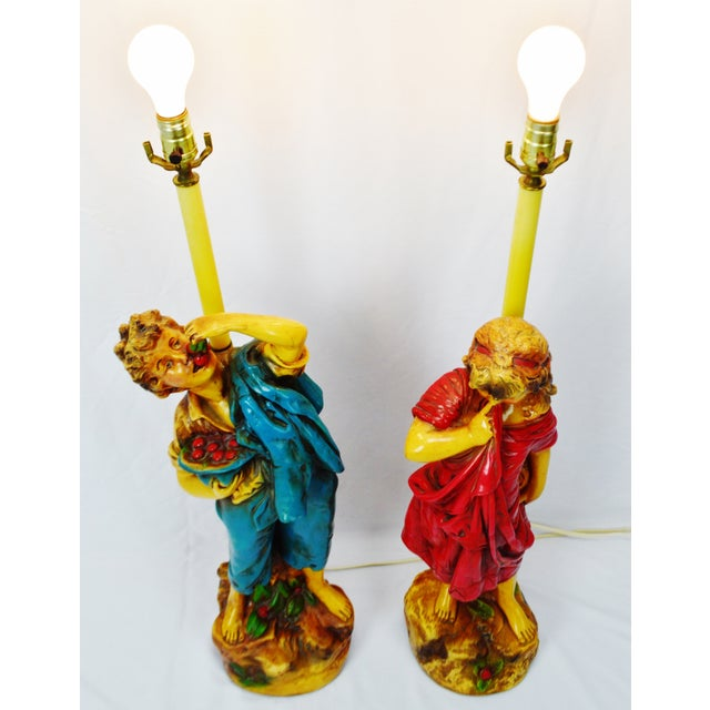 Early American Vintage Figural Chalkware Table Lamps Cherry Boy and Bashful Girl - a Pair For Sale - Image 3 of 13