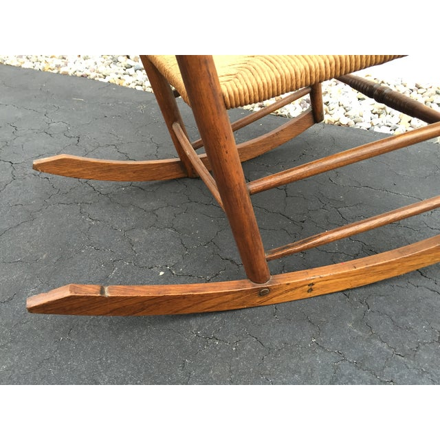 Antique Maple Rush Rocking Chair - Image 8 of 9