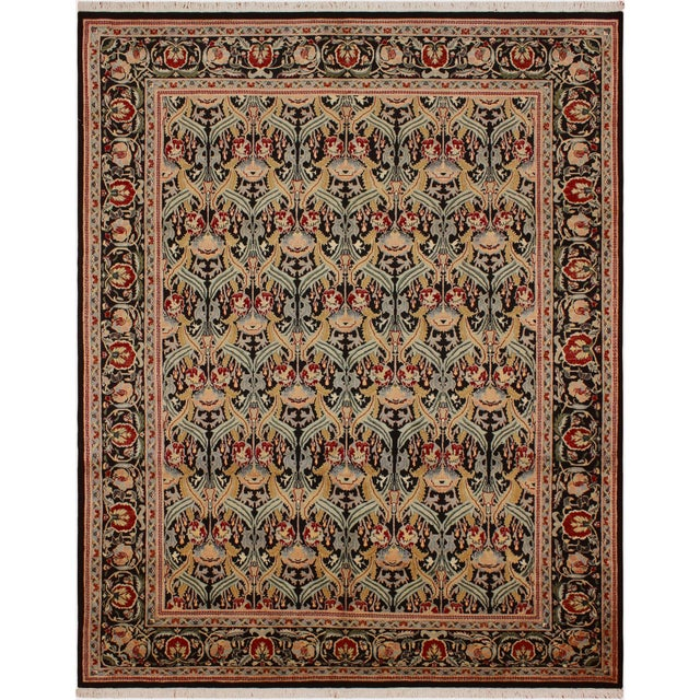 "Blue William Morris Pak-Persian Sandi Black Red Wool Rug - 8'11"" x 10'2"" For Sale - Image 8 of 8"