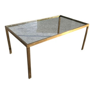 1970s Mid-Century Modern Solid Brass Rectangular Dining Table With Inset Glass For Sale