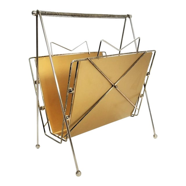 Rare Atomic Mid Century Modern Magazine Holder Rack - Sputnik Era 1950s Abstract Minimalist Art Deco For Sale