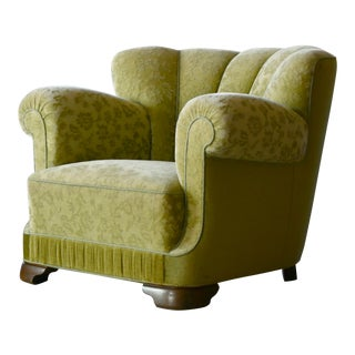 Danish 1940s Club Chair in the Style of Fritz Hansen Model 1518 For Sale