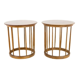 1960s Mid-Century Modern John Van Koert for Drexel Round Spindle Side Tables - a Pair For Sale