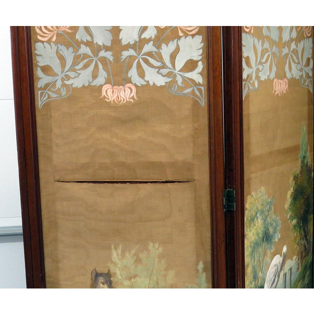 Traditional Aesthetic Victorian 4 Panel Screen For Sale - Image 3 of 13