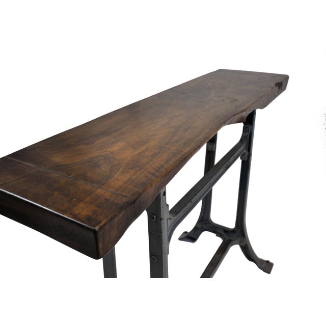 Handmade Walnut & Steel Console Table - Image 4 of 10