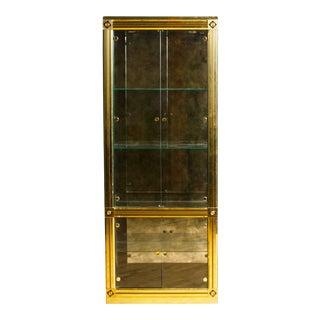"Mastercraft Brass Display Cabinet or Vitrine Circa 1970. Original ""Mastercraft of Grand Rapids"" Label For Sale"