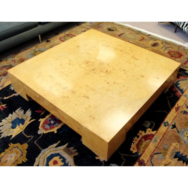For your consideration is a lovely, low, square, Parsons style coffee table, made of burled wood, by Milo Baughman, circa...
