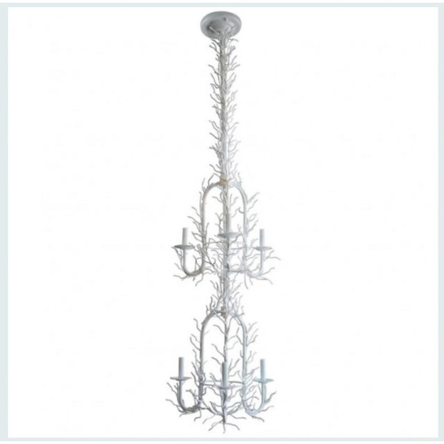 Vintage French Coastal White Double Tier Faux Coral Chandelier For Sale In West Palm - Image 6 of 6