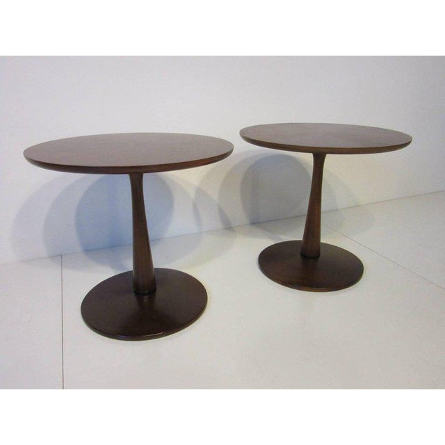 Kipp Stewart for Drexel Declaration Walnut Pedestal Side Tables For Sale In Cincinnati - Image 6 of 7