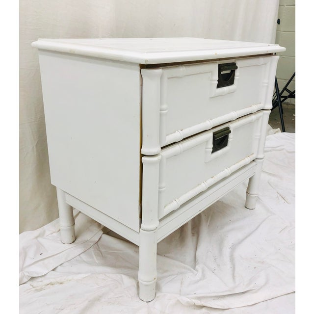 Fantastic Vintage Mid Century Era Faux Bamboo Style Two Drawer Side Table Chest. Original fittings and frame. Chest has...