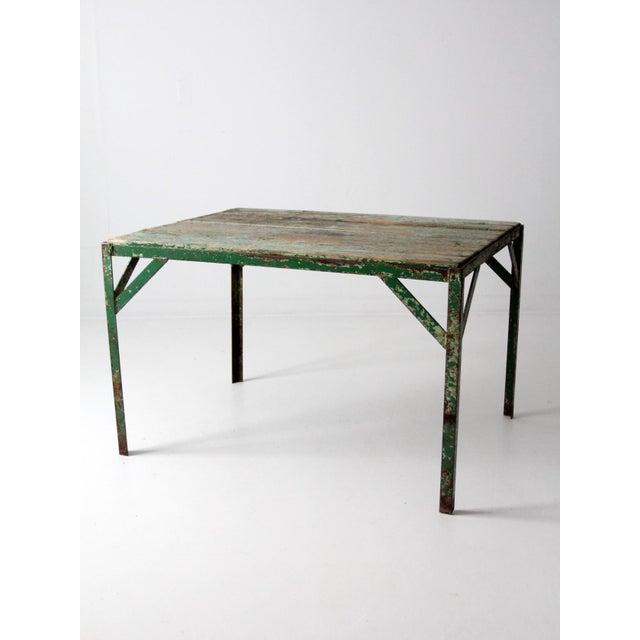 Metal Vintage Wood Top Work Table For Sale - Image 7 of 11