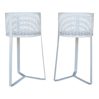 Contemporary Metal White Baskets - Pair For Sale