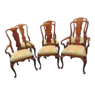 Henredon Walnut Queen Anne Dining Chairs - Set of 6 For Sale