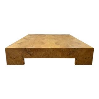 Vintage 1970s Milo Baughman Low Large Burl Wood Coffee Table