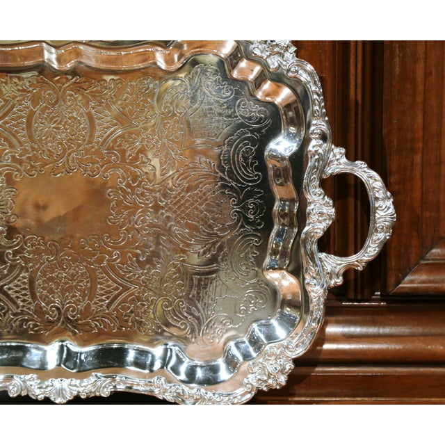 Early 20th Century French Silver Plated Tray With Ornate Scrolls and Engravings For Sale In Dallas - Image 6 of 9